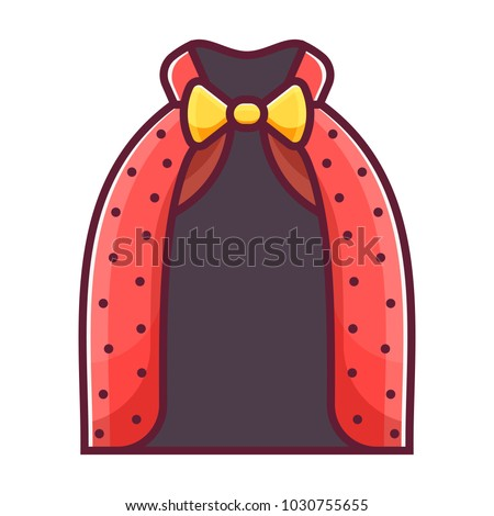 Magician mantle with bow tie icon. Wizard robe or halloween masquerade costume in flat design. Red illusionist cape cloak with collar.