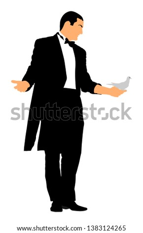 Magician performing trick with pigeon or dove, vector illustration isolated. Magic performer illusionist. Live bird It disappears and rises.  Cabaret show or circus entertainment performance.