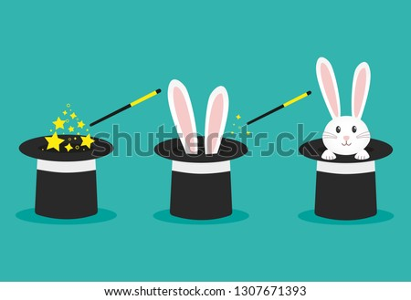 Magician's black hat, magic hat with bunny ears. Vector flat illustration in cartoon style.