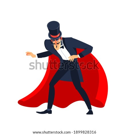 Magician Showman male entertainer, magician or actor on stage. The illusionist in the red cloak and the cylinder spreading hands. Cartoon character vector illustration isolated on white background. Foto stock ©
