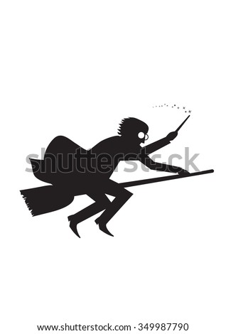 magician silhouette on a broom