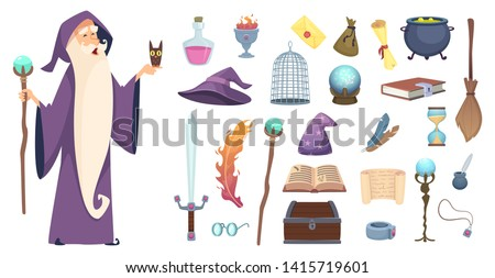 Magician tools. Wizard magic mystery broom potion witch hat and spell book vector cartoon pictures. Illustration of magical tools, sword and crystal