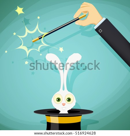 magician with magic wand and a