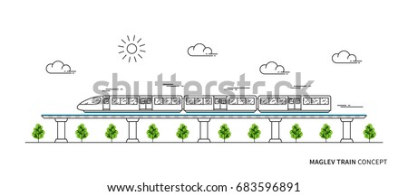 maglev rail train vector