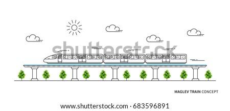 maglev rail train vector