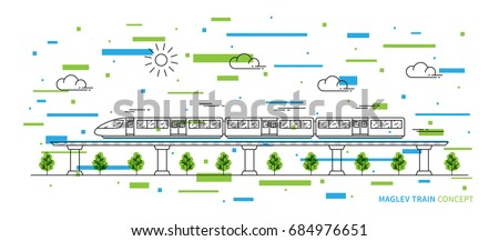 Maglev rail train vector illustration with colorful elements. Electric fast train line art concept. Monorail subway with magnet levitation technology graphic design.