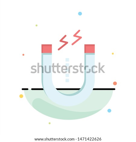Magnet, Attract, Attracting, Tool Abstract Flat Color Icon Template. Vector Icon Template background