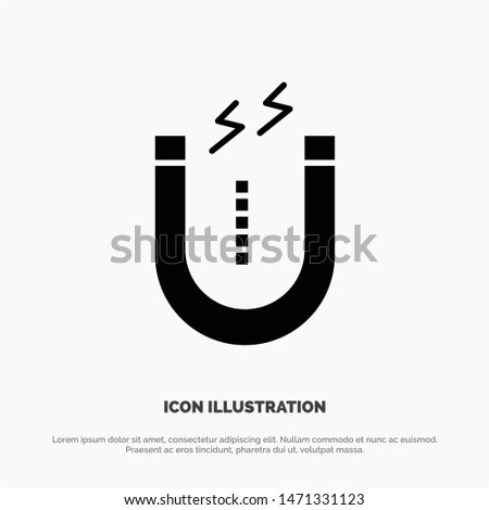Magnet, Attract, Attracting, Tool Solid Black Glyph Icon. Vector Icon Template background
