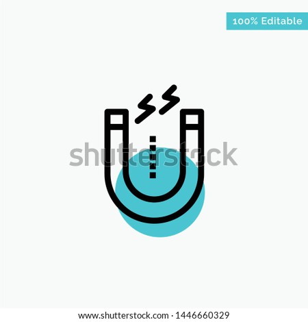 Magnet, Attract, Attracting, Tool turquoise highlight circle point Vector icon