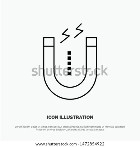 Magnet, Attract, Attracting, Tool Vector Line Icon