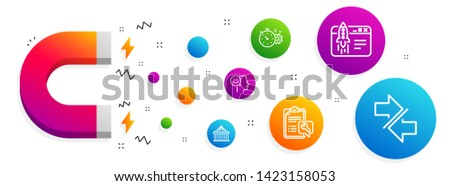 Magnet attracting. Carousels, Cogwheel timer and Start business icons simple set. Spanner, Good mood and Synchronize signs. Attraction park, Engineering tool. Technology set. Vector