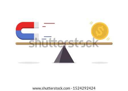 Magnet attracting gold dollar coin on seesaw isolate on white background. business concept, vector illustration