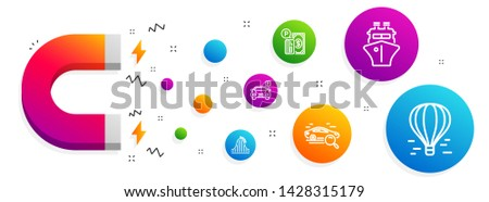 Magnet attracting. Search car, Roller coaster and Parking icons simple set. Ship, Parking payment and Air balloon signs. Find transport, Attraction park. Transportation set. Vector
