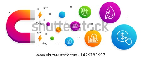 Magnet attracting. Water drop, Search and Payment method icons simple set. Like, World money and Buy currency signs. Mint leaf, Analytics. Line water drop icon. Editable stroke. Vector