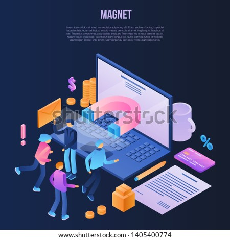 Magnet attraction concept background. Isometric illustration of magnet attraction vector concept background for web design
