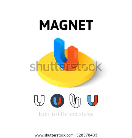 Magnet icon, vector symbol in flat, outline and isometric style