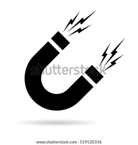 Magnet vector icon on white background. Magnet sign. Attraction icon. Magnet icon clip art.