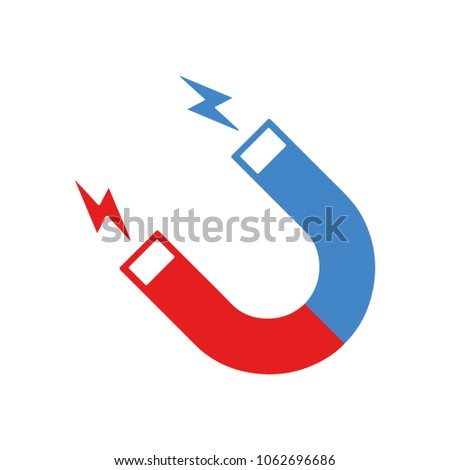 Magnet with magnetic power icon vector illustration, flat cartoon magnet isolate on white background