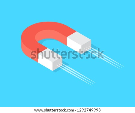Magnet with magnetic power, magnetism concept, source of magnetize, attracting profit and money symbol vector isolated icon, gravitation concept