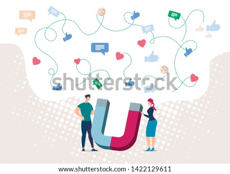 Magnetic Marketing Strategy Flat Vector Concept with Young Entrepreneurs Holding Huge Magnet Collecting Audience Feedback Illustration. Attracting New Clients Online. Business Sales Generation