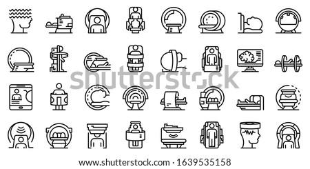 Magnetic resonance imaging icons set. Outline set of magnetic resonance imaging vector icons for web design isolated on white background Foto stock ©