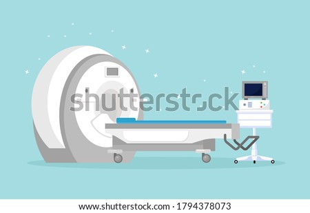 Magnetic Resonance Imaging Technology. Tomography, radiology, xray machine for examination for oncology disease, brain diagnostics. MRI machine with computer. Vector cartoon design Stok fotoğraf ©