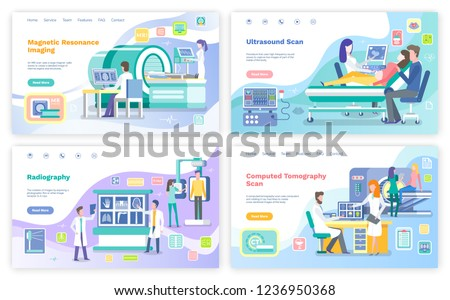 Magnetic resonance imaging, ultrasound scanning vector. Radiology scan, computed tomography in hospital. Doctors testing patients, brain tumor checkup