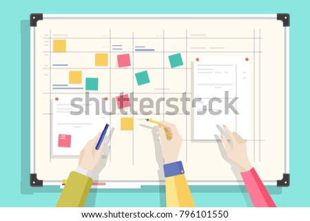 Magnetic whiteboard with table drawn on it, notes sticked by magnets and hands holding pen and pencil. Board for effective daily planning, scheduling, timetable. Colorful flat vector illustration.