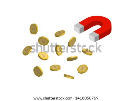 Magnets are attracting dollar coins isolated on white background.