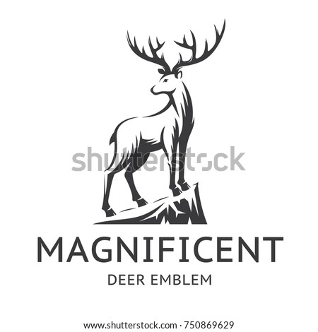 Magnificent Deer emblem, illustration, logotype - the stag stands on the edge of the cliff, on a with background.