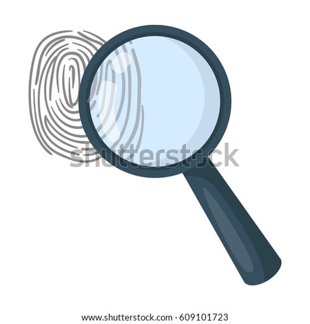 Magnifier and fingerprint. Detection of criminals by fingerprint.Prison single icon in cartoon style vector symbol stock illustration.