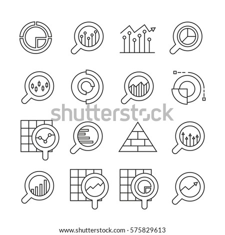 magnifier glass and data chart icons in thin line style