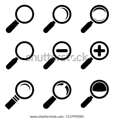 Magnifier Glass Icons - stock vector