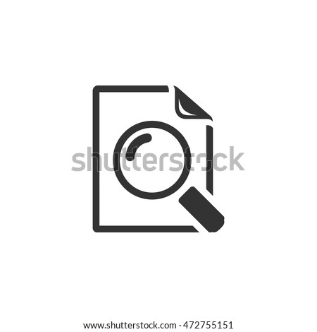 Magnifier icon in single grey color. Zoom explore find locate paper document files