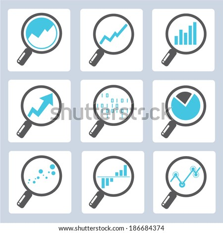 magnifier icons, analysis icons