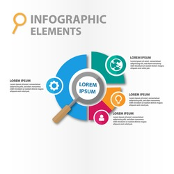 Magnifier infographics elements illustration, template for business