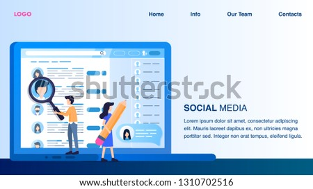 Magnifier Man Woman Hold Big Pencil Point Monitor. Social Media Profile Laptop Screen. Applicant Employee Online Resume. Male Character with Magnifying Glass. Flat Cartoon Vector Illustration