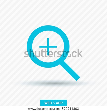 Magnifier plus isolated single linear icon for websites and mobile minimalistic flat design.