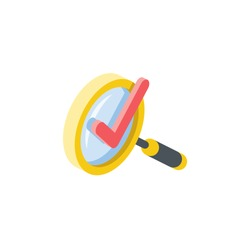 Magnifier search checkmark. Vector 3d isometric, color web icon, new flat style. Creative illustration design, idea for infographics.