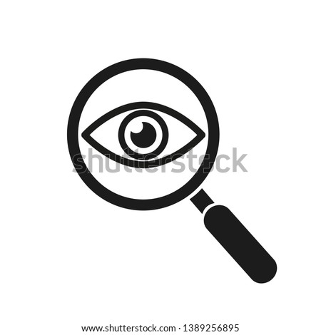 Magnifier with eye outline icon. Find icon, investigate concept symbol. Eye with magnifying glass. Appearance, aspect, look, view, creative vision icon for web and mobile – for stock