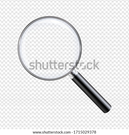 Magnifier With Isolated Transparent Background With Gradient Mesh, Vector Illustration