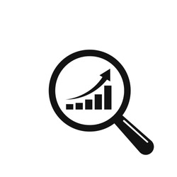 Magnifier with Rising Bars Chart vector icon. Flat style isolated symbol.