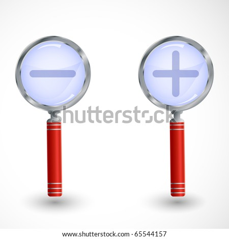 Magnifiers with plus and minus signs