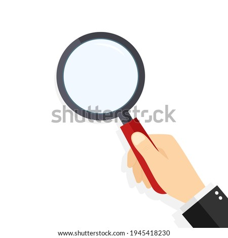 Magnify glass in hand. Hand hold of loupe. Magnifier with lens for zoom and search. Icon for detective, discovery. Man hold magnify glass for research, magnification and look. Seo analyzing. Vector. Photo stock ©
