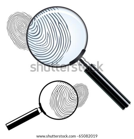 magnifying glass and fingerprint