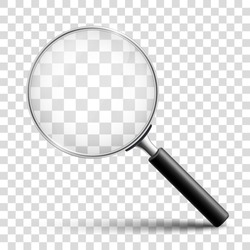 Magnifying glass, big tool with shadow – for stock vector