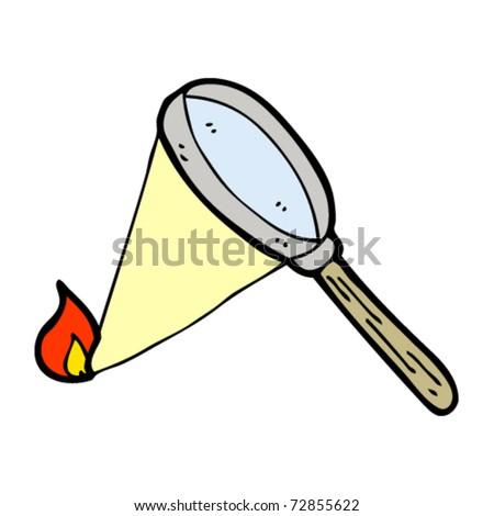magnifying glass burning cartoon