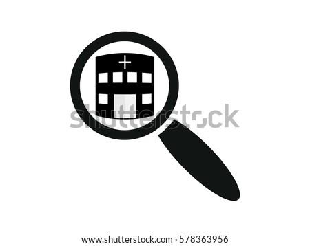 magnifying glass, hospital, icon, vector illustration eps10