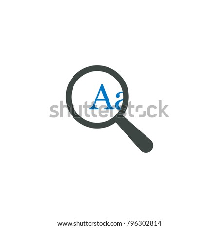 Magnifying glass icon, A letter icon vector sign
