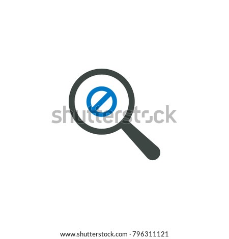 Magnifying glass icon, Ban icon vector sign